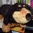 SMALL ROCKY THE WEINER DOG BLACK AND TAN PLUSH STUFFED ANIMAL NEW GANZ WITH ORIGINAL TAGS