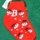 COIN PURSE INITIAL B CHRISTMAS STOCKING SNOWMAN ORNAMENT NEW GANZ HOLIDAY GIFT DECOR