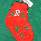 CHRISTMAS STOCKING COIN PURSE LETTER R CHRISTMAS TREES ORNAMENT NEW GANZ HOLIDAY GIFT DECOR