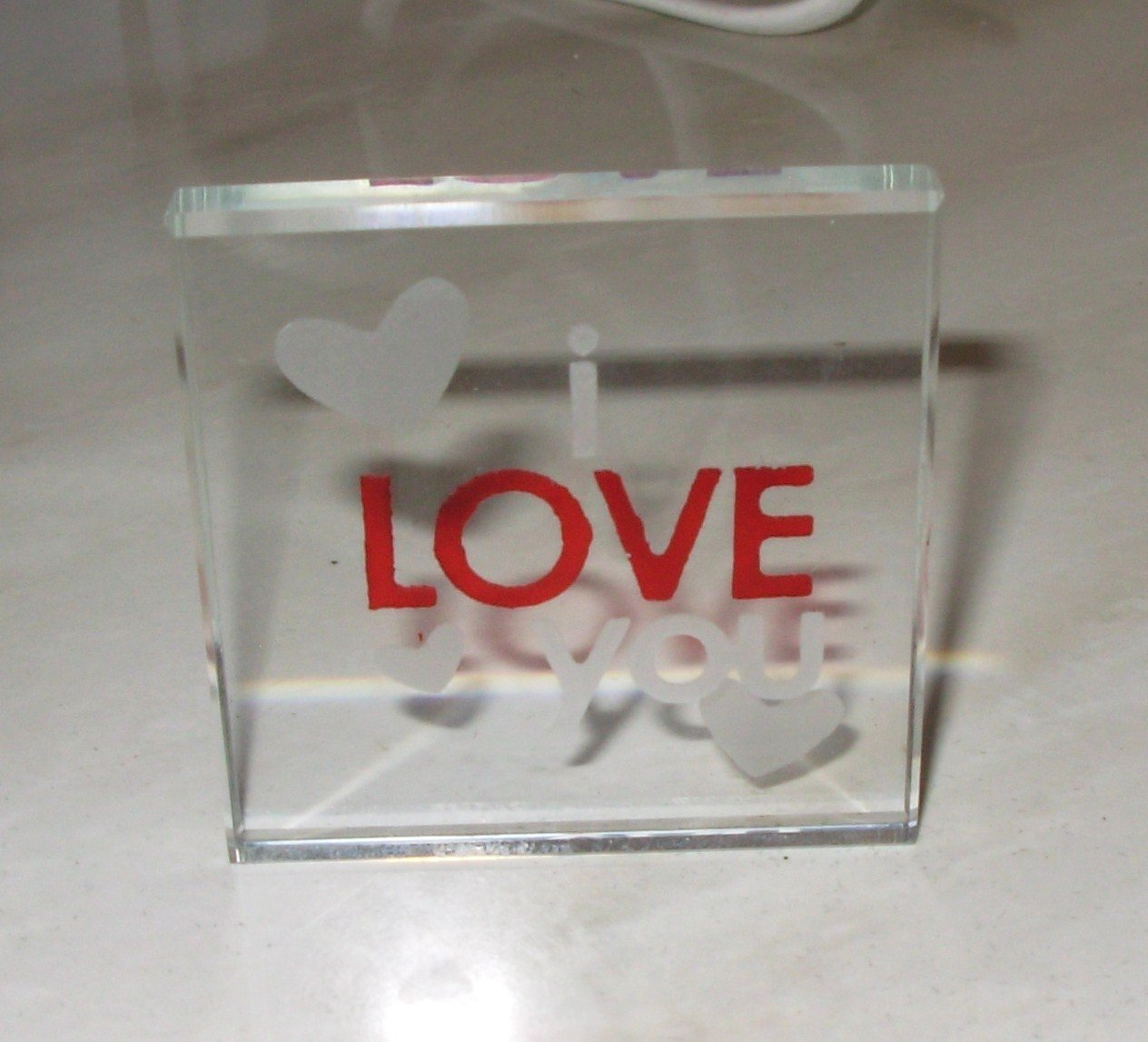 I LOVE YOU CLEAR GLASS PLAQUE NEW GANZ