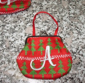 MONOGRAMED COIN PURSE ORNAMENT LETTER A GIFT CARD HOLDER NEW GANZ