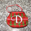 MONOGRAMED LETTER D HOLIDAY COIN PURSE ORNAMENT PERSONALIZED GIFT CARD HOLDER NEW GANZ