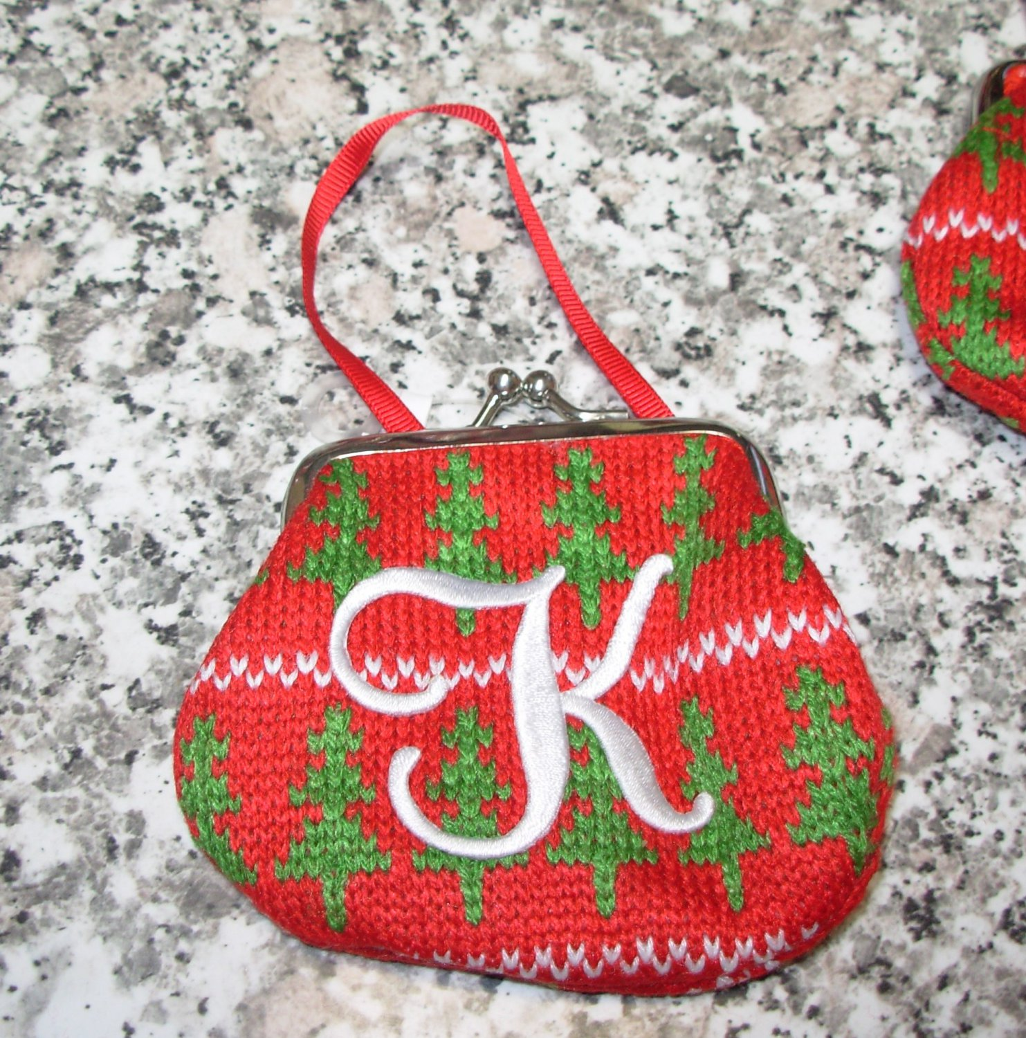 MONOGRAMED LETTER K HOLIDAY COIN PURSE ORNAMENT PERSONALIZED GIFT CARD HOLDER NEW GANZ