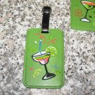 HAPPY HOUR MARQUARITA DAQUARI GLASS LUGGAGE TAG FESTIVE UNMISTAKEABLE UNIQUE NEW GANZ