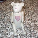 BEAR STATUE POLYSTONE JOINTED ARMS PINK HEART ANTIQUED LOOK NEW GANZ BABY