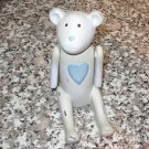 BEAR STATUE POLYSTONE JOINTED ARMS BLUE HEART ANTIQUED LOOK NEW GANZ BABY