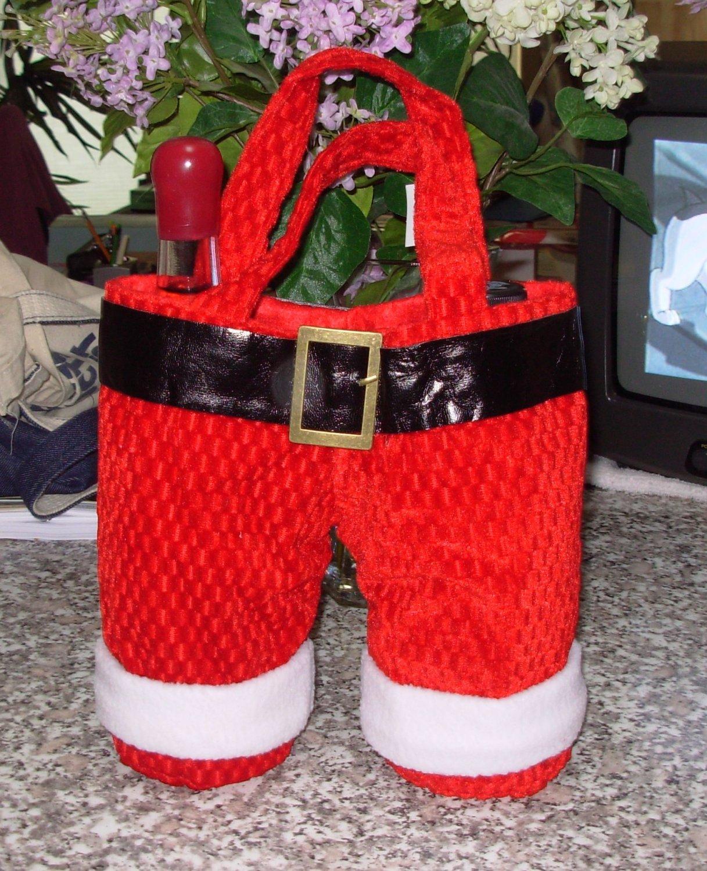 SANTA PANTS TOTE WINE BAG HOLDS 2 BOTTLES NEW GANZ CHRISTMAS HOLIDAY GIFT BAG