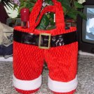 SANTA PANTS TOTE WINE BAG HOLDS 2 BOTTLES NEW GANZ CHRISTMAS HOLIDAY GIFT BAG