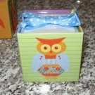 RIBBON TIED NOTE CUBE OWLS PAPER PAD AND HOLDER 3X3 CUBE 700 SHEETS NEW STATIONERY