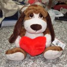 BIG OLIVER WITH A RED HEART 12 INCH PLUSH STUFFED ANIMAL PUPPY DOG NEW GANZ