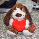 LITTLE OLIVER WITH A RED HEART 9 INCH PLUSH STUFFED ANIMAL PUPPY DOG NEW GANZ