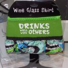 WINE GLASS SKIRT DRINKS WELL WITH OTHERS NEOPRENE ADJUSTABLE WASHABLE NEW GANZ