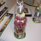FOIL GIRL BUNNY SITTING ON EASTER EGG FIGURINE 9 INCH NEW GANZ HOME HOLIDAY DECOR