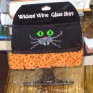 WICKED BLACK CAT WINE GLASS SKIRT HALLOWEEN ADJUSTABLE WASHABLE NEW GANZ