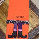 GUEST TOWEL WICKED WITCH LEGS CUTE HALLOWEEN HOME DECOR NEW GANZ