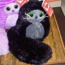 TAILETTOS BLACK PUFFBALL KITTY CAT WITH LONG FLUFFY TAIL NEW GANZ STUFFED PLUSH ANIMAL