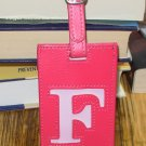 LETTER F INITIAL LUGGAGE TAG NEW GANZ HOT PINK WITH A LIGHTER PINK LETTER F VINYL