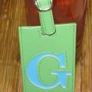 LETTER G INITIAL LUGGAGE TAG NEW GANZ LIME GREEN WITH A BLUE LETTER G VINYL