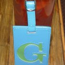 LETTER G INITIAL LUGGAGE TAG NEW GANZ BLUE WITH A LIME GREEN LETTER G VINYL
