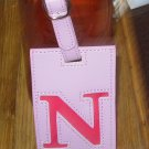 LETTER N INITIAL LUGGAGE TAG NEW GANZ PINK WITH A HOT PINK LETTER N VINYL