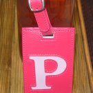 LETTER P INITIAL LUGGAGE TAG NEW GANZ HOT PINK WITH A LIGHTER PINK LETTER P VINYL
