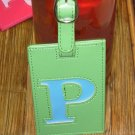 LETTER P INITIAL LUGGAGE TAG NEW GANZ LIME GREEN WITH A BLUE LETTER P VINYL