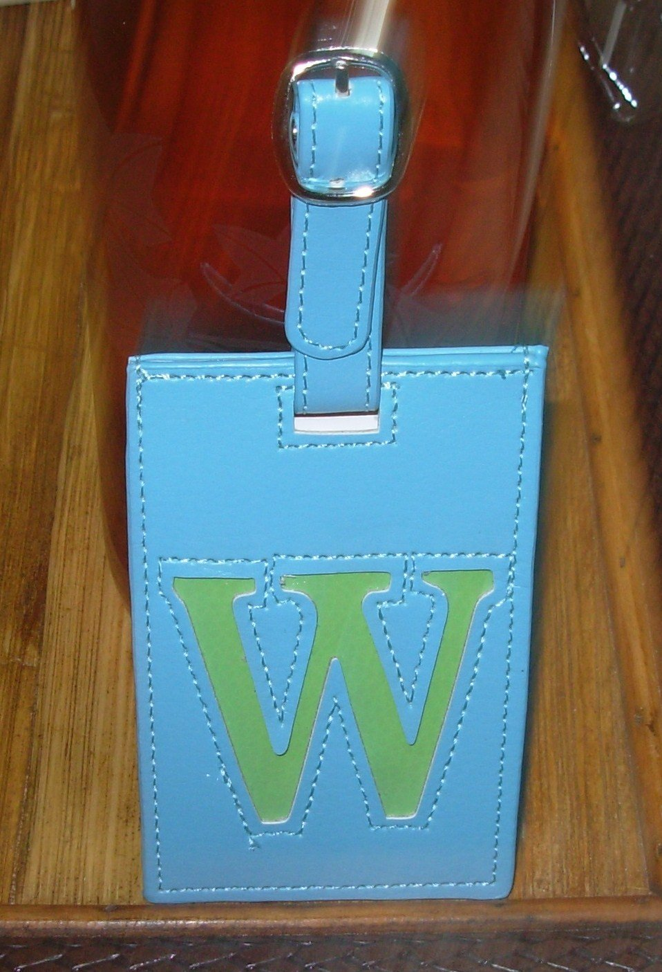 LETTER W INITIAL LUGGAGE TAG NEW GANZ BLUE WITH A LIME GREEN LETTER W VINYL