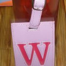 LETTER W INITIAL LUGGAGE TAG NEW GANZ PINK WITH A HOT PINK LETTER W VINYL