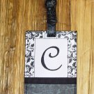 MONOGRAMED INITIAL LUGGAGE TAG LETTER C BLACK AND WHITE NEW GANZ TRAVEL TAG