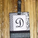 MONOGRAMED INITIAL LUGGAGE TAG LETTER D BLACK AND WHITE NEW GANZ TRAVEL TAG