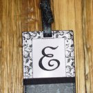 MONOGRAMED INITIAL LUGGAGE TAG LETTER E BLACK AND WHITE NEW GANZ TRAVEL TAG