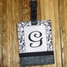 MONOGRAMED INITIAL LUGGAGE TAG LETTER G BLACK AND WHITE NEW GANZ TRAVEL TAG