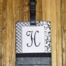 MONOGRAMED INITIAL LUGGAGE TAG LETTER H BLACK AND WHITE NEW GANZ TRAVEL TAG