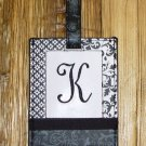 MONOGRAMED INITIAL LUGGAGE TAG LETTER K BLACK AND WHITE NEW GANZ TRAVEL TAG