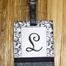 MONOGRAMED INITIAL LUGGAGE TAG LETTER L BLACK AND WHITE NEW GANZ TRAVEL TAG