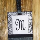 MONOGRAMED INITIAL LUGGAGE TAG LETTER M BLACK AND WHITE NEW GANZ TRAVEL TAG
