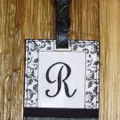 MONOGRAMED INITIAL LUGGAGE TAG LETTER R BLACK AND WHITE NEW GANZ TRAVEL TAG