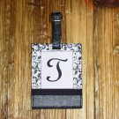 MONOGRAMED INITIAL LUGGAGE TAG LETTER T BLACK AND WHITE NEW GANZ TRAVEL TAG