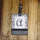 MONOGRAMED INITIAL LUGGAGE TAG LETTER A BLACK AND WHITE NEW GANZ TRAVEL TAG