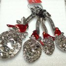 XMAS MEASURING SPOONS SET CARDINALS AND PINE CONES HEAVY ZINC NEW GANZ