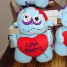 LOVE ZOMBIE HOLDING RED HEART SAYS LOVE HURTS VALENTINE GIFT OR ANY OCCASION NEW GANZ PLUSH DOLL