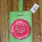 FAUX LEATHER FLOWERS LUGGAGE TAG NEW GANZ LIME GREEN WITH ROSE COLORED FLOWER