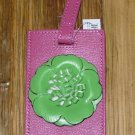 FUN FLOWERS LUGGAGE TAG NEW GANZ TURQUOISE WITH BLACK COLORED FLOWER
