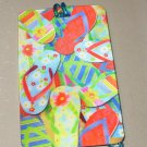 3D LUGGAGE TAG FLIP FLOPS PVC NEW GANZ TRIP TRAVEL VACATION NOVELTY