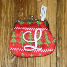 MONOGRAMED LETTER L HOLIDAY COIN PURSE ORNAMENT PERSONALIZED GIFT CARD HOLDER NEW GANZ