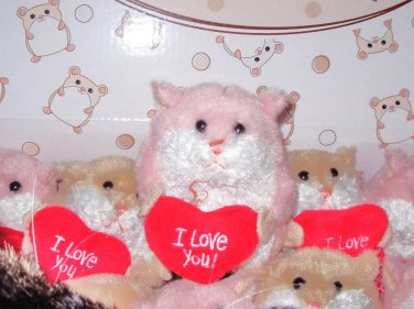 LIL LOVES VALENTINES DAY I LOVE YOU HAMSTER PINK WHITE WITH A HEART NEW GANZ PLUSH STUFFED ANIMAL