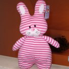 STANDING STRIPED BUNNY RABBIT PLUSH STUFFED ANIMAL PINK NEW GANZ