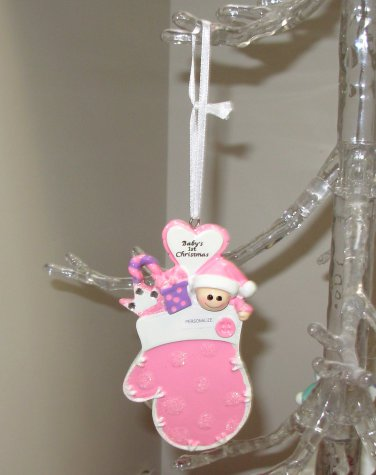BABYS FIRST CHRISTMAS ORNAMENT PINK NEW BABY GANZ CELEBRATE BABY FIRSTS THIS HOLIDAY