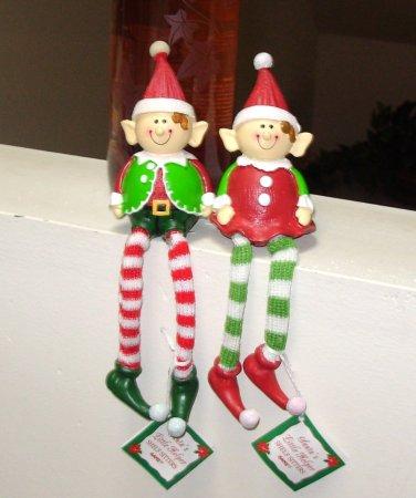PAIR OF ELF SHELF SITTERS NEW GANZ HOLIDAY CHRISTMAS DECOR SANTAS LITTLE HELPERS