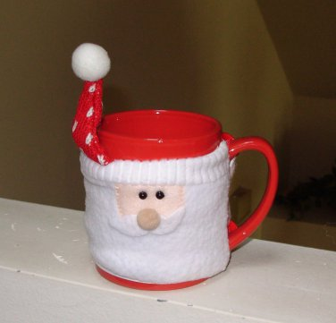 MUGS WITH WARMERS HAPPY HOLIDAYS CHRISTMAS MUGS SANTA NEW GANZ